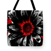 Abstract Red White And Black Daisy Tote Bag