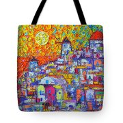 Abstract Santorini Oia Sunset Floral Sky Impressionist Palette Knife Painting  Ana Maria Edulescu Tote Bag