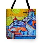 Abstract Santorini Sunset Oia Windmills  Tote Bag