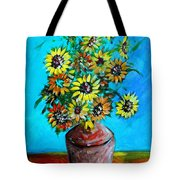 Abstract Sunflowers W/vase Tote Bag