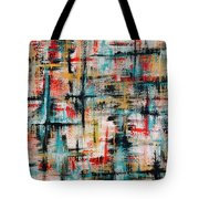 Abstract Teal Crosses Tote Bag