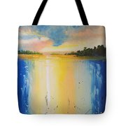 Abstract Waterfall At Sunset Tote Bag