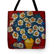 Abstract Wild White Roses Original Oil Painting Tote Bag