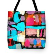 Abstract Wine Bottles Blue Red Tote Bag