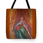 Abstraction With Red Balls Tote Bag