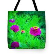 Abstract Zinnias In Green And Pink Tote Bag