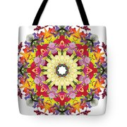 Abundantly Colorful Orchid Mandala Tote Bag