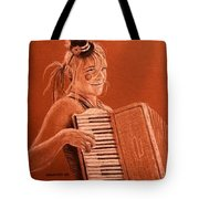 Accordion Girl Tote Bag by Michael Beckett