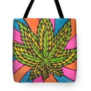 Aceo Cannabis Abstract Leaf  Tote Bag