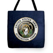 Acquisition Corps - A A C Branch Insignia Over Blue Velvet Tote Bag