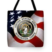 Acquisition Corps - A A C Branch Insignia Over U. S. Flag Tote Bag