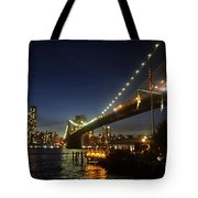 Across The Brooklyn Bridge To Manhattan At Night Tote Bag