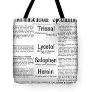 Ad For Bayers Drugs, Including Heroin Tote Bag