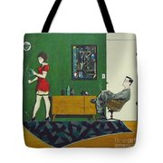 Ad Man Sitting In Chair Steadily Watching Coffee Girl Tote Bag