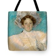 Adaline Havemeyer In A White Hat Tote Bag