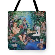 Adam Naming The Animals And The Appearance Of Eve Tote Bag by Rosemarie Adcock