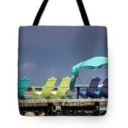 Adirondack Chairs At Coyaba Mahoe Bay Jamaica. Tote Bag