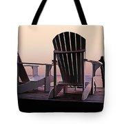 Adirondack Chairs Dockside At Lavender Haze Twilight Tote Bag