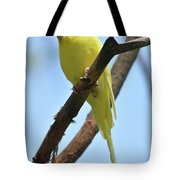 Adorable Little Yellow Parakeet In A Tree Tote Bag