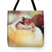 Adorable Tiny Hamster Pet Feasting On Corn Tote Bag