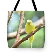 Adorable Yellow Budgie Parakeet Relaxing In A Tree Tote Bag