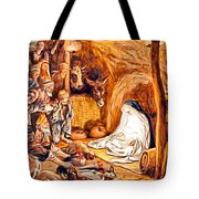 Adoration Of The Shepherds Nativity Tote Bag