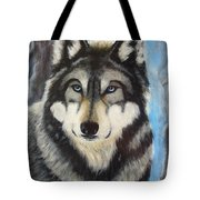 Adult Grey Wolf Tote Bag by David Hawkes