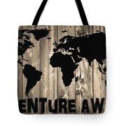 Adventure Awaits Graphic Barn Door Tote Bag