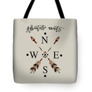 Adventure Waits Typography Arrows Compass Cardinal Directions Tote Bag