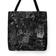 Aerial New York City Skyscrapers Bw Tote Bag