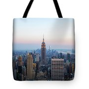 Aerial Night View Of Manhattan Skyline In New York Tote Bag