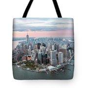 Aerial Of Lower Manhattan Peninsula At Sunset, New York, Usa Tote Bag