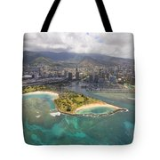 Aerial Of Magic Island Tote Bag