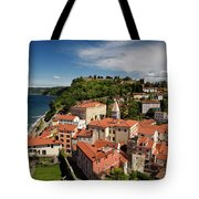 Aerial Of Piran Slovenia On Gulf Of Trieste Adriatic Sea With St Tote Bag