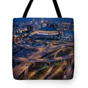 Aerial Of The Superdome In The Downtown Tote Bag