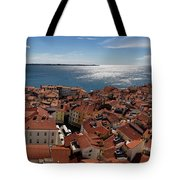 Aerial Panorama Of Piran Slovenia On Adriatic Sea With Marina An Tote Bag