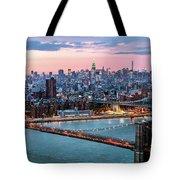 Aerial Panoramic Of Midtown Manhattan At Dusk, New York City, Us Tote Bag