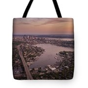 Aerial Seattle View Along Interstate 5 Tote Bag