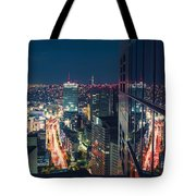 Aerial View Cityscape At Night In Tokyo Japan From A Skyscraper Tote Bag
