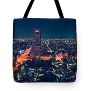 Aerial View Cityscape At Night In Tokyo Japan Tote Bag