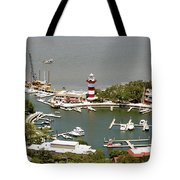 Aerial View Harbour Town Lighthouse In Hilton Head Island Tote Bag