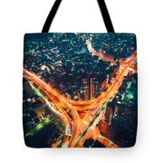 Aerial View Of A Massive Highway Intersection In Tokyo Tote Bag