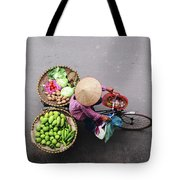 Aerial View Of A Vietnamese Traditional Seller On The Bicycle With Bags Full Of Vegetables Tote Bag