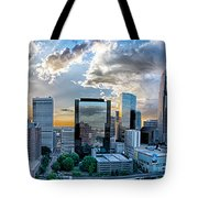Aerial View Of Charlotte City Skyline At Sunset Tote Bag