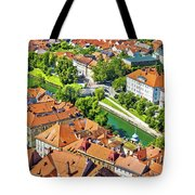 Aerial View Of Ljubljana Green River Tote Bag