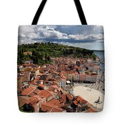 Aerial View Of Piran Slovenia On The Adriatic Sea Coast With Har Tote Bag