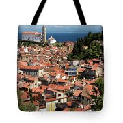 Aerial View Of Piran Slovenia With St George's Cathedral On The  Tote Bag