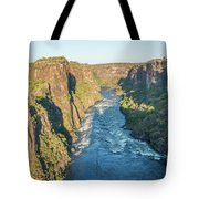 Aerial View Of Sunlit Rapids In Canyon Tote Bag