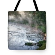 Aerial View Of The Dawn Over The River In The Fog Tote Bag
