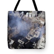 Aerial View Of The Destruction Where Tote Bag by Stocktrek Images